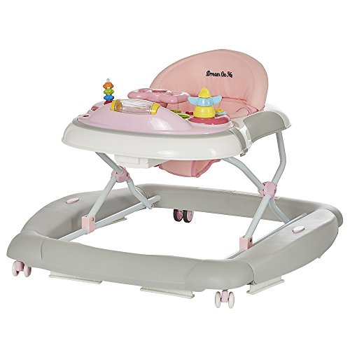 Dream On Me 2 in 1 Crossover Musical Walker and Rocker, Pink and Grey (Dream On Me 2 In 1 Walker)