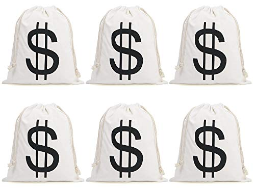 Halloween Money Sign Candy Bag Sack with Dollar Mark, Perfect for Kids, Teens Trick and Treat. (Money Bag 6 Pc) -