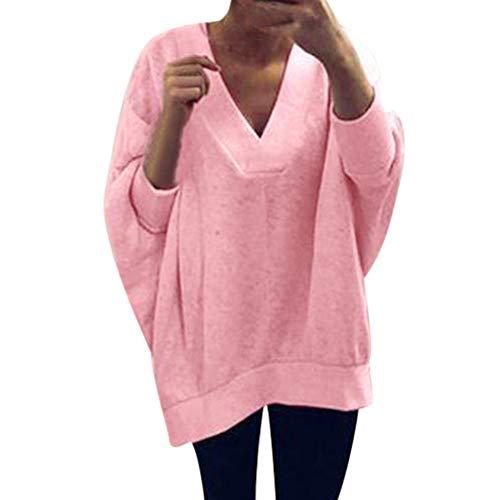 Fashion Women Deep V-Neck Solid Easy Blouse Pullover Sweatshirt Tops ()
