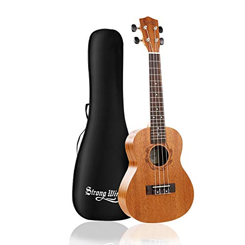 Strong Wind Concert Ukulele, Mahogany 23 Inch Ukeleles for Beginners, Adult Uke Hawaiian Starter Ukalalee With Gig Bag