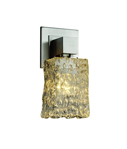 Justice Design Group Veneto Luce 1-Light Wall Sconce - Polished Chrome Finish with Clear Textured Venetian Glass Shade