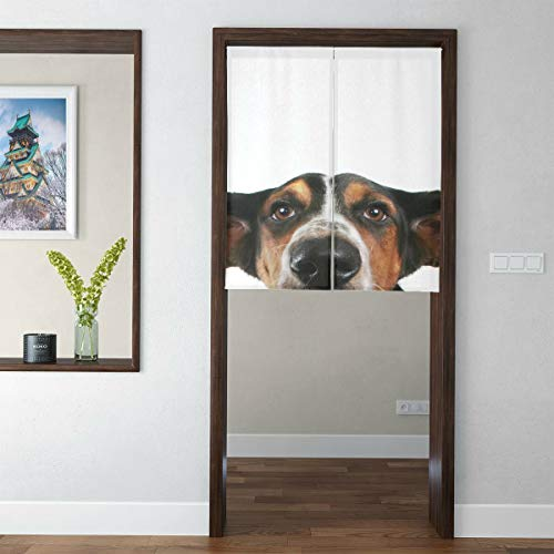 Yngxil Japanese Short Style Curtain for Bedroom A Basset Hound with Big Ears Doorway Curtain Door Tapestry for Home Decor