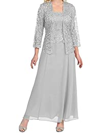 lisa lace chiffon mother of the bride dress formal gown with jacket