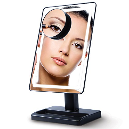 "Cheap Lighted Makeup Mirror with Magnification – ""LightTouch"" Black Touch Activated Adjustable and Dimmable 10 x 7 Inch LED Vanity Mirror with Lights and Removable Make Up Mirror"