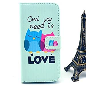 QJM Owl You Need Love Pattern PU Leather Cover with Stand and Card Slot for iPhone 6