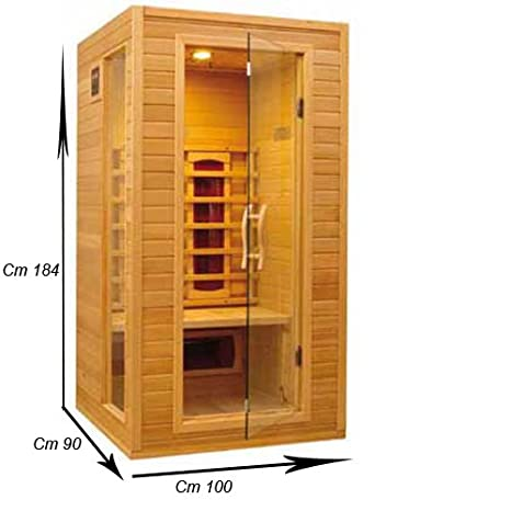 Cabina sauna per due persone in legno 100x90x184 cm: Amazon.it: Casa ...