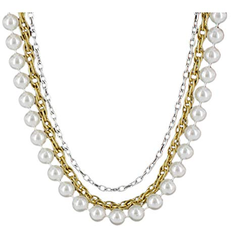 - Layered Necklace White 10Mm Faux Pearl Multi Strand Silver Gold Tone Chain Necklace For Women