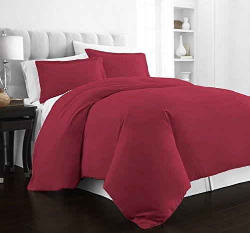 Beckham Hotel Collection Luxury Soft Brushed 2100 Series Microfiber Duvet Cover Set - Hypoallergenic - Twin/TwinXL - Burgundy