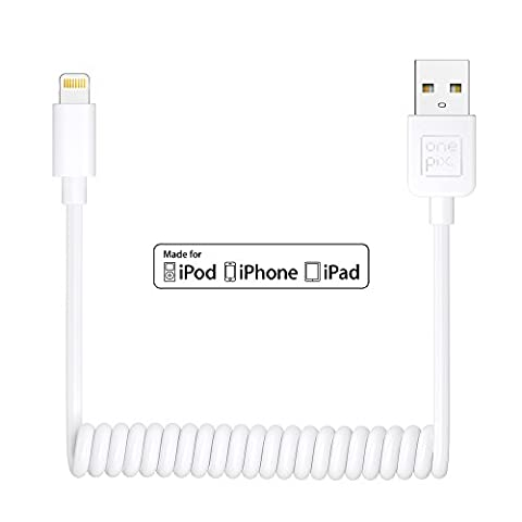 onepix [Apple MFi Certified] Coiled Lightning Cable for iPhone (3 ft), Coil Car Charger Cable for iPhone 5 / 6 / 7 / 8 / 6 Plus / 7 Plus / 8 Plus / X / SE, iPad Air / Pro / Mini, iPod Touch - (Ipod Touch 4th Gen Battery Case)