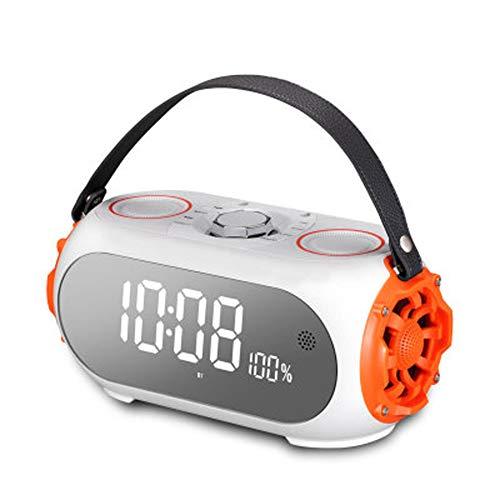 InaláMbrico Bocina Bluetooth, Sonido Con Calidad De CD, Reloj Despertador Espejo Subwoofer Con Sobrepeso- Admite AUX,...