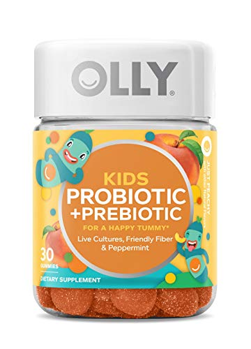 OLLY Kids Probiotic + Prebiotic Gummy Multivitamin, 30 Day Supply (30 Gummies), Just Peachy, Probiotics, Prebiotics, Peppermint, Chewable Supplement