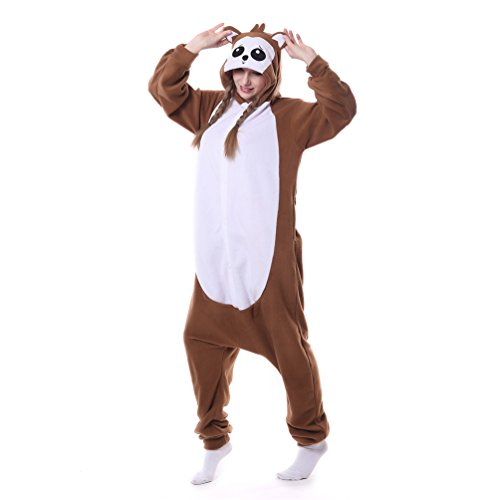 [Foresightrade Adults and Children Animal Cosplay Costume Pajamas Onesies Sleepwear L] (Chipmunk Squirrel Costume Party)