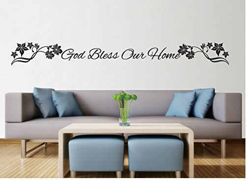 Boodecal Quote Wall Decals God Bless Our Home Wall Lettering ...