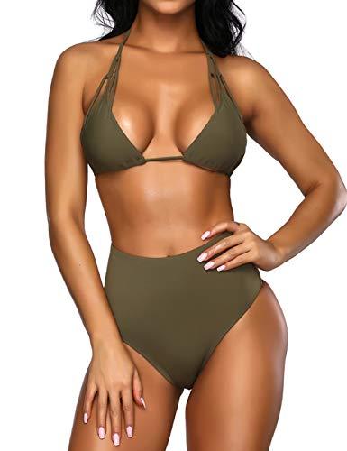 FeelinGirl Women's Stripe Padded Push up High Waist Bikini Set Two Pieces Halter Straps Swimsuit