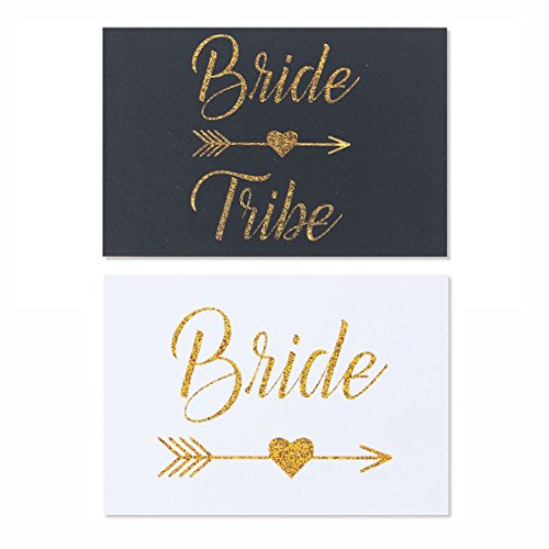 Bride tribe, 20- pack gold glitter Bachelorette sticker labels for mini champagne bottles, 2x 3 inches, bridal shower, engagement party (Stickers Champagne Bottles)