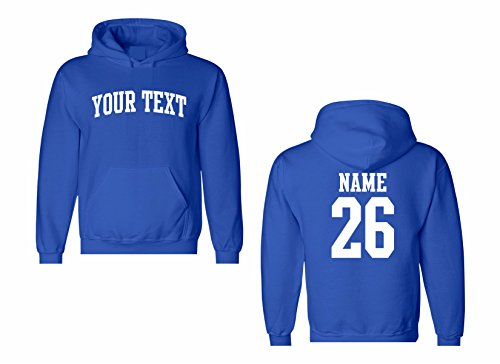 (Men's Custom Personalized Hooded Sweatshirt, Front Arched text, Back Name & Number)