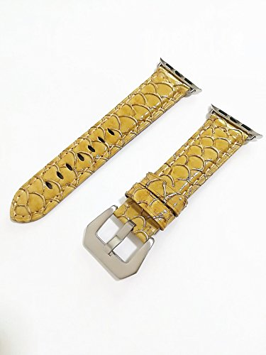 Compatible Apple Watch Strap 38mm 42mm,Fashion Serpentine Genuine Leather Wrist Bands for Women and Men, Replacement for Apple Watch Series 3 2 1, Replacement Large Metal Classic Buckle (Gold - Leather Serpentine