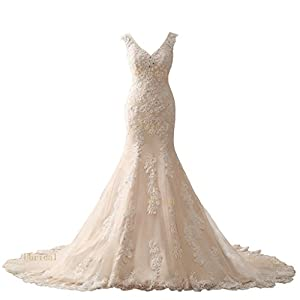 Harsuccting 2017 V-neck Mermaid Lace Appliques Beaded Court Train Wedding Dress