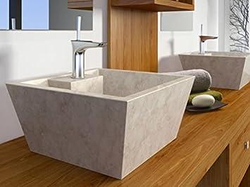 bathco – bathco Waschbecken auf Waschtischplatte Stein Rhodos ... | {Waschtischplatte stein 62}