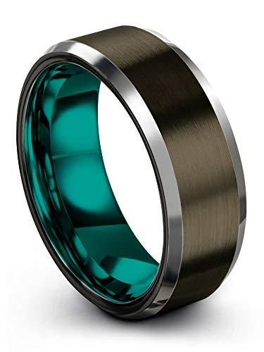 Chroma Color Collection Tungsten Carbide Wedding Band Ring 8mm for Men Women Teal Interior with Gunmetal Exterior Beveled Edge Brushed Polished Comfort Fit Anniversary Size 10.5 ()