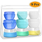 Small Travel Containers, Selizo 9 Pcs Lotion Travel Containers Cream Travel Jars Silicone Travel Bottles with TSA Approved Toiletry Case for Creams Toiletries Cosmetic Makeup Body Hand Lotion Shampoo