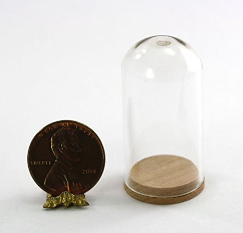 Dollhouse Miniature Tall Glass Dome Display Case with Wood Base