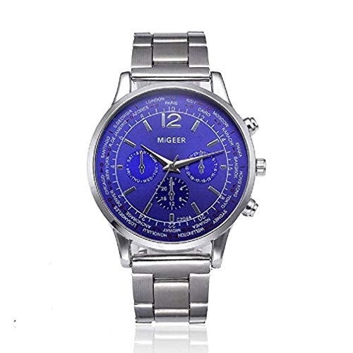 Mens Watches Clearance, Windoson Men's Fashion Dress Wrist Watch with Stainless Steel Band Unique Casual Analog Quartz Watches Classic Business Wristwatch Calendar Date Week (Men's Watch J)