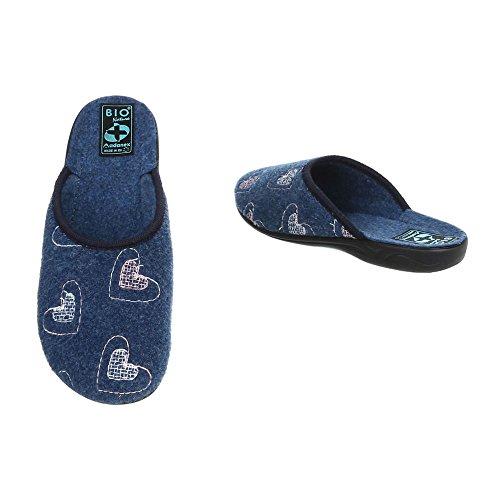 Schuhcity24 Haus Hausschuhe Blau mit Damen Absatz Schuhe Schluppen 9 Pantoffel gefüttert Winter 6qxaX