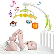 Baby Musical Mobile - Foldable Travel Take Along Mobile for Girl/Boy with Star Projector & Hanging Rotating Toys - Crib Cot Music Box Bed Bell Musical Mobiles with 30 Melodies (Green)