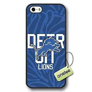 NFL Detroit Lions Team Logo iphone 4 4s Black Hard Plastic Case Cover - Black 1