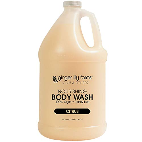 - Ginger Lily Farms Club & Fitness Citrus Nourishing Body Wash, Softens, Nourishes and Cleans Skin, 100% Vegan and Cruetly-Free, 1 Gallon