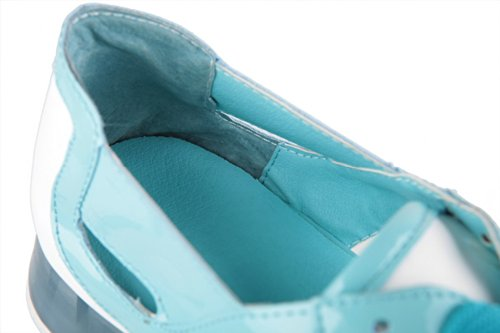 VogueZone009 Womens Open Toe Low Heel PU Soft Material Solid Pumps with Bandage, Blue, 3.5 UK