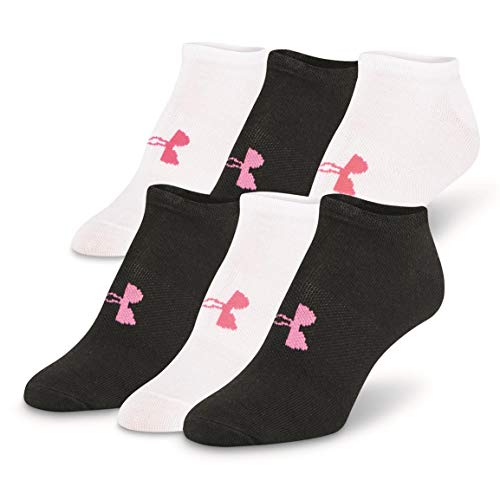 Under Armour Womens Essential No-show Socks (Pack 6), Black (1259396-002) / White/Vivid Pink, Medium