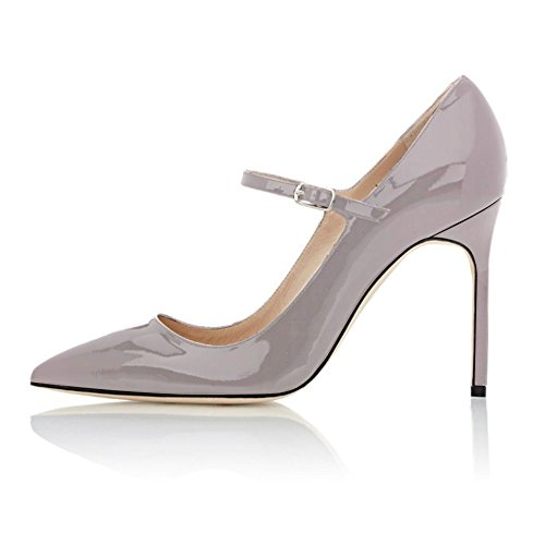 Court Shoes Pointed Strap Dress Women's Soireelady 10cm Party Toe Pumps 1gray For Jane Stiletto Weeding Mary UqTUxSwzB
