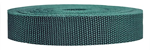 Strapworks Heavyweight Polypropylene Webbing - Heavy Duty Poly Strapping for Outdoor DIY Gear Repair, 1 Inch x 50 Yards - Forest Green