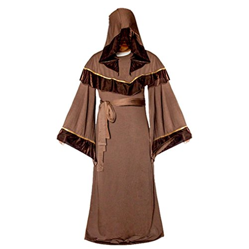 Velvet Costumes Assassin (Costume Party Heart Mens Assassin Hooded Robe For Wizard Sorcerer Mage Priest Party Cosplay)
