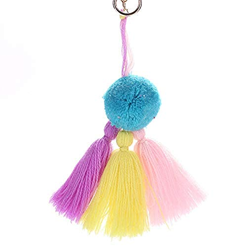 QUANWU 2 PCS Handmade Creative Bohemia Tassel Pendant Ball Tassel Key Ring -7 3 Inches