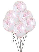 Unique Party- Globos confeti, Color rosa claro (58117)