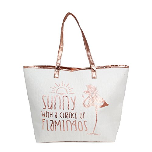 Me Plus Women Metallic Trimmed Large Beach Tote Bag Zipper Closure Inner Pocket (5 Styles) (Flamingo-Rosegold130)]()