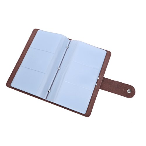 Genuine Leather Credit Card Holder Business ID Card Case Wallet Style 96 Box Name Card Holder Book with Button Black
