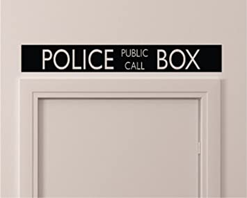 Vintage Style Police Public Call Box Telephone Bedroom Closet Door - 36 Inch By 5 Inch Black Wall Vinyl Decal Decorative Dr Who Inspired