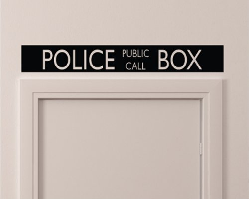Vintage Style Police Public Call Box Telephone Bedroom Closet Door - 36 Inch By 5 Inch Black Wall Vinyl Decal Decorative by Applicable Pun