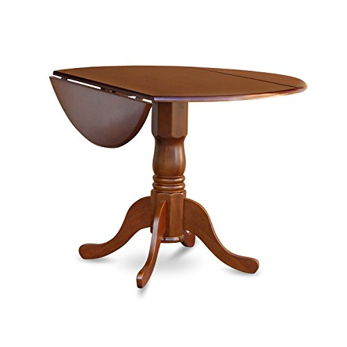 East West Furniture DLT-SBR-TP Round Table with Two 9-Inch Drop Leaves, Saddle Brown Finish (Table Small Pedestal)