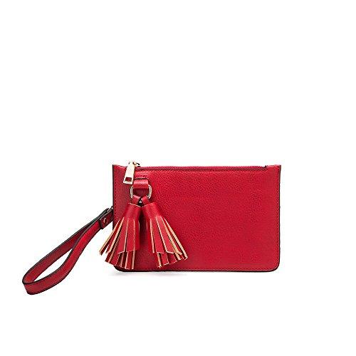 Melie Bianco Farah Designer Convertible Crossbody Clutch Wristlet Handbag - Red by Melie Bianco