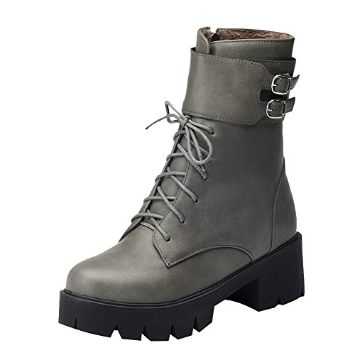 Mid Womens Boots Heel Lace Grey Charm Zipper Western Martin Up Foot Chunky Sq5w10A
