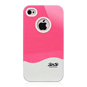 Ganbol Original Shock Proof New Brand 2 Pack Colour Grip Series Case for Apple iPhone 4 4S (Pink & White)