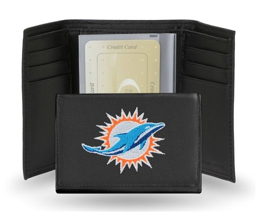 Hall of Fame Memorabilia Miami Dolphins Embroidered Leather Tri-Fold Wallet