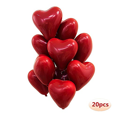(10 inch Heart Latex Balloon Ruby Red Balloon Valentine Day Wedding Party Decoration 20 Pcs/Pack )