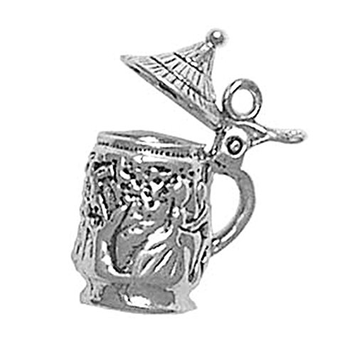 Beer Silver Sterling (925 Sterling Silver Classic Movable Motif German Beer Stein Charm Pendant)