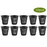 Hydroponic Basket, 10pcs/Set Bucket Basket Lid Garden Plastic Net Cups Pots Hydroponic Basket Cup Plant Net Pot for Hydroponics Garden Containers(Black)
